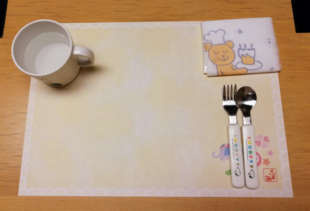 写真:木曽路 子供用食事セット(スプーンフォーク、スタイ等)
